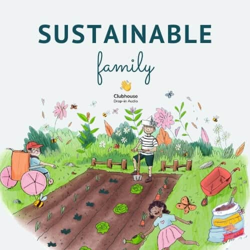 a girl in a wheelchair scatters seeds into a vegetable plot, while a boy in a sailor suit digs and a girl waters the growing vegetables. Text says sustainable family clubhouse drop in audio.