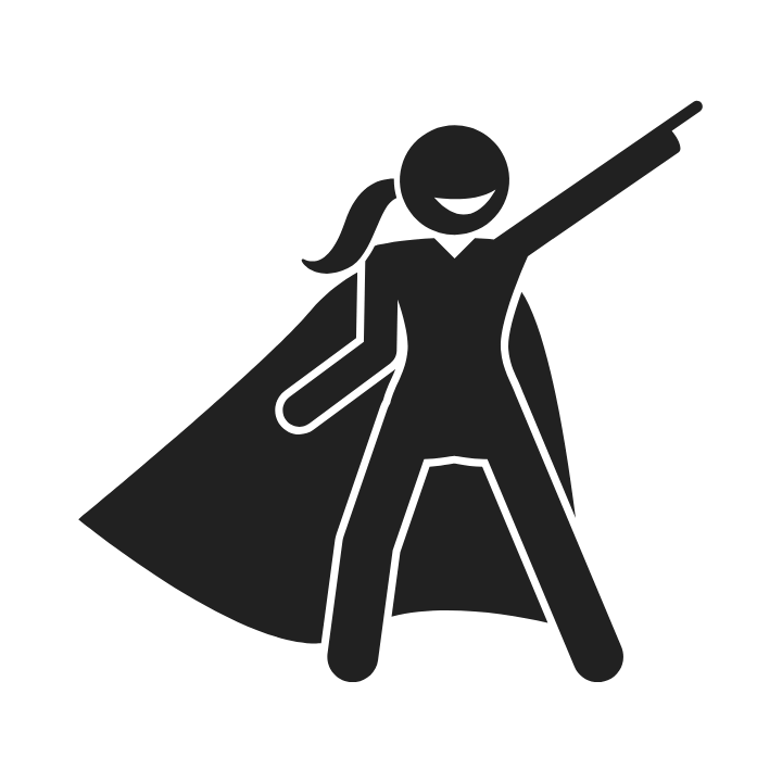Looking for Super talent, a black icon woman with a super hero cape and stance.